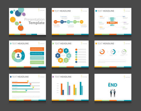 colorful infographic business presentation template set.powerpoint template design backgrounds