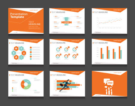 orange infographic business presentation template set.powerpoint template design backgrounds Vectores