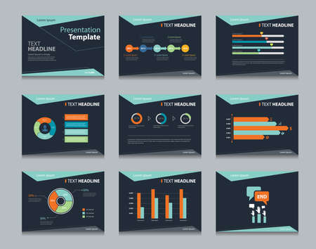 black infographic powerpoint template design backgrounds . business presentation template set Imagens - 43683109