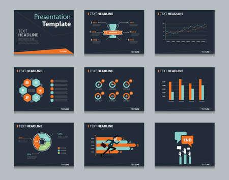 インフォ グラフィック パワー ポイント テンプレートのデザイン背景を黒します。ビジネス プレゼンテーション テンプレート セット