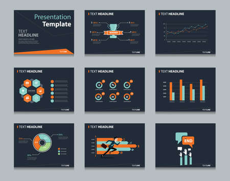 black infographic powerpoint template design backgrounds . business presentation template set
