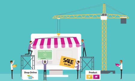 ベクトル ビジネス オンライン ショップ。オンライン Store.people ビジネス .flat バナー web を作成します。