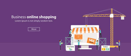 shop online: vector business online shop .Create Online Store.people business .flat banner web
