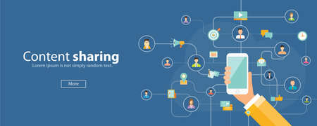 business content sharing on mobile concept.mobile social network connection .web banner 일러스트