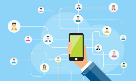 phone vector: business connection on mobile concept.mobile social network .mobile online concept Illustration