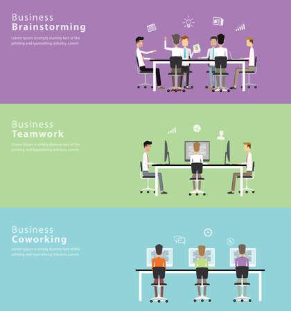 La gente de negocios que trabajan en brainstorm.coworking bandera set.business Foto de archivo - 43956994