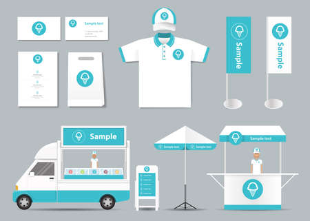 sjabloon: concept voor ijssalon identiteit mock up template. card .menu.polo shirt.vector
