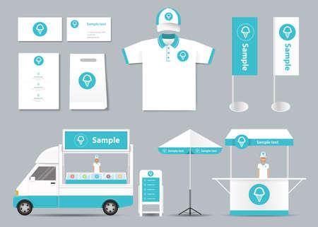 speisekarte: Konzept f�r Eisdiele Identit�t Mock-up-Vorlage. Karte .menu.polo shirt.vector Illustration