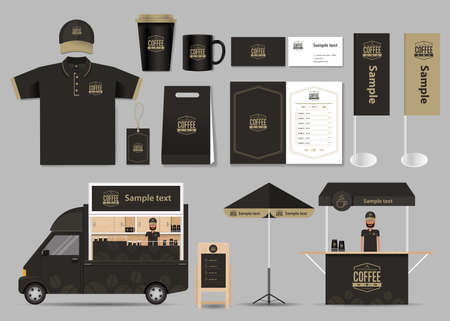 brands: concept for coffee shop and restaurant identity mock up template. card .menu.polo shirt.vector