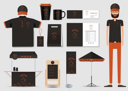 コーヒー ショップとレストラン id テンプレート モックアップのコンセプトです。カードします menu.polo shirt.vector。