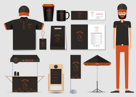 concept for coffee shop and  restaurant  identity mock up template. card .menu.polo shirt.vector Çizim