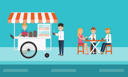 people eating: business people eating fast food on street Illustration