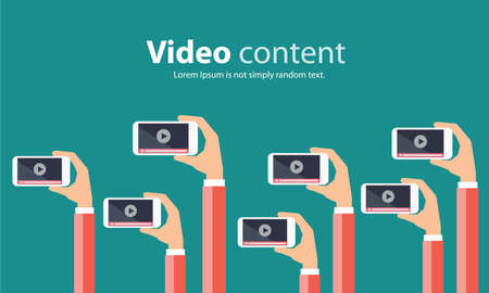 mobile marketing: business video marketing content online concept