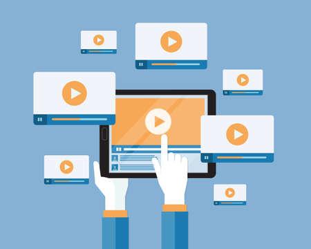 zakelijke video marketing content online concept Stock Illustratie