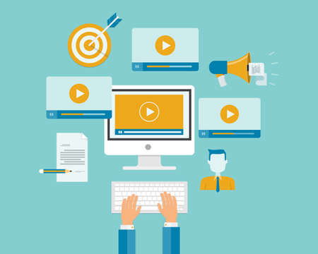 content management: business video marketing content online concept