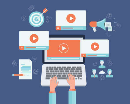 marketing online: business video marketing content online concept