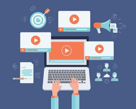 redes de mercadeo: vídeo negocio de contenidos de marketing concepto en línea Vectores
