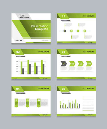 Vector sjabloon presentatie dia's achtergrond ontwerp.info grafieken en diagrammen. dia's ontwerp. vlakke stijl. Stock Illustratie