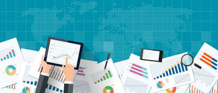 デバイス技術 .web バナーを計画し、ビジネス投資と金融概念の .business をベクターします。