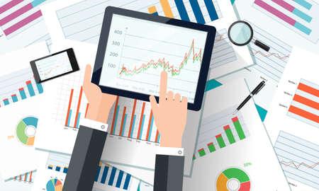 モバイル デバイス、ビジネス グラフ レポートと web バナー。ベクトル事業投資と金融の概念、事業計画。