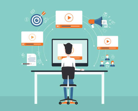 business on line video marketing content concept.flat vector. background Vettoriali