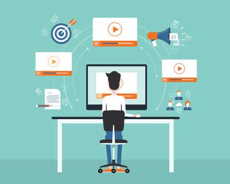 redes de mercadeo: negocio en línea de vídeo de contenido de marketing concept.flat vectorial. fondo