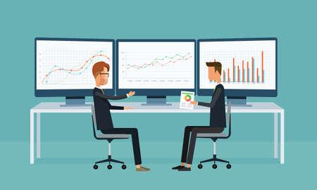crecimiento personal: la gente de negocios en gráfico de análisis del monitor informe de panel .Vector