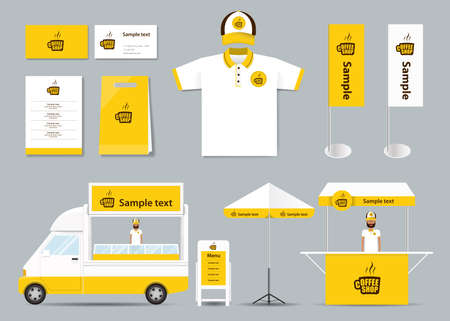 coffee company: concept  corporate branding identity mock up template for coffee shop and restaurant. card .menu.polo shirt.vector.yellow Illustration