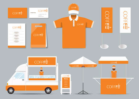 coffee company: concept  corporate branding identity mock up template for coffee shop and restaurant. card .menu.polo shirt.vector.orange Illustration