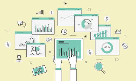 analytics graph and seo business on mobile device