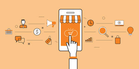 business mobile online shopping and e-marketing  イラスト・ベクター素材