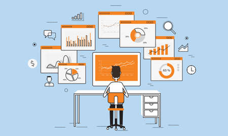 business people analytics business graph on monitor concept Vectores