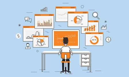 tecnologia informacion: la gente de negocios Analytics gr�fico de negocio en la pantalla de concepto