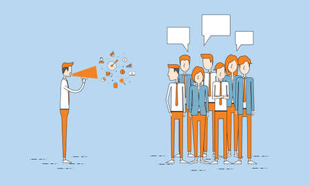 announce: business announce and marketing promotion for business crowd Illustration