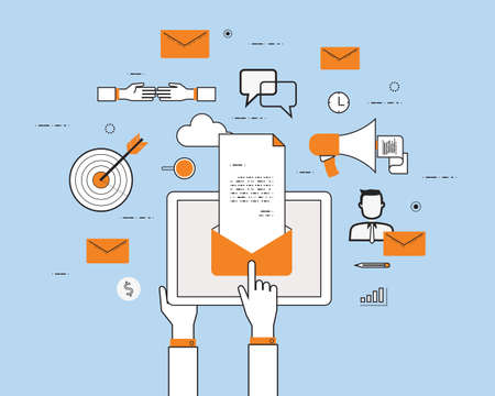computing: business email marketing content on mobile concept