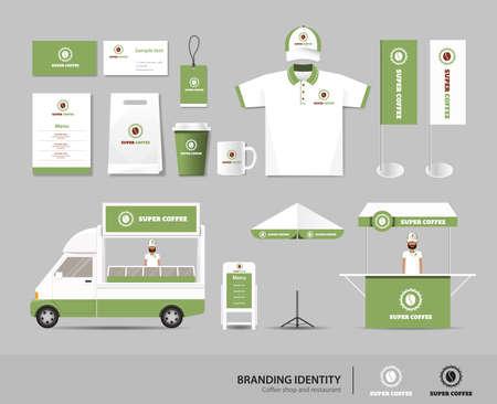 personalausweis: Corporate Branding Identität up Vorlage für Coffee-Shop und Restaurant zu verspotten. Karte .menu.polo shirt.vector.yellow