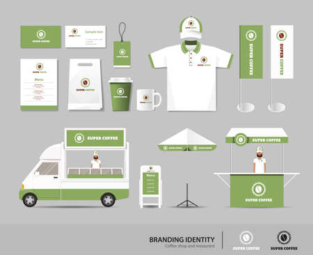 identity: corporate branding identity mock up template for coffee shop and restaurant. card .menu.polo shirt.vector.yellow