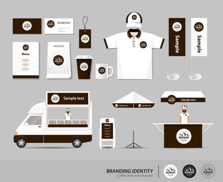 white paper: corporate branding identity mock up template for coffee shop and restaurant. card .menu.polo shirt.vector.yellow