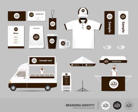 l'identité de marque de l'entreprise maquette modèle de café et un restaurant. La carte de shirt.vector.yellow