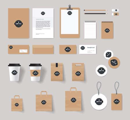 papírnictví: corporate identity značky mock-up šablonu pro kavárny a restaurace. Karta .menu.vector.stationary.packaging, Ilustrace