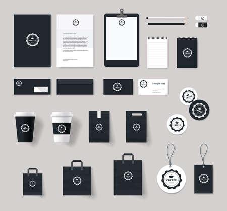 logo batiment: l'identité de marque de l'entreprise maquette modèle pour café et un restaurant. carte .menu.vector.stationary.packaging, identité visuelle Illustration
