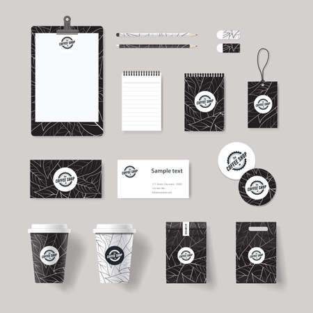 コーポレート ブランド ・ アイデンティティ模擬喫茶店、レストラン用のテンプレート。カードします menu.vector.stationary.packaging,black。  イラスト・ベクター素材