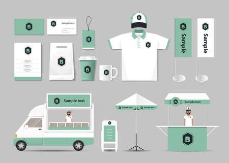 uniform: la identidad de marca corporativa maqueta plantilla para la cafetería y el restaurante. .menu.vector.stationary.packaging tarjeta,