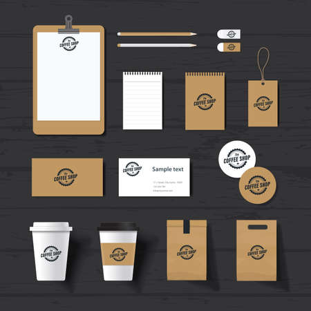 branding identity mock up template for coffee shop and restaurant. card .menu.vector.stationary.packaging,  イラスト・ベクター素材