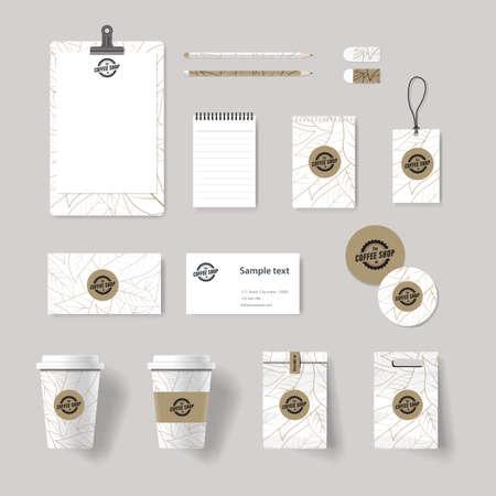 Caffetteria e ristorante di branding identità mock up modello. carta .menu.vector.stationary.packaging, corporate identity Archivio Fotografico - 50096723