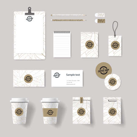 coffee bag: coffee shop and restaurant branding identity mock up template . card .menu.vector.stationary.packaging, corporate identity