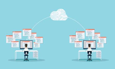 gente programmazione sviluppano sito web e applicazione su connection.people cloud.business lavorare sul monitor.