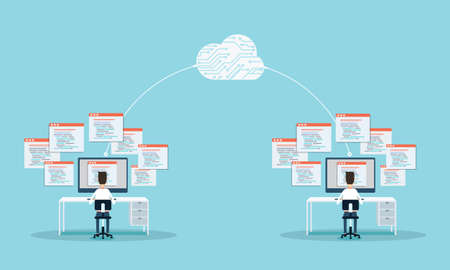 people programming develop web site and application on cloud.business connection.people working on monitor . Illustration