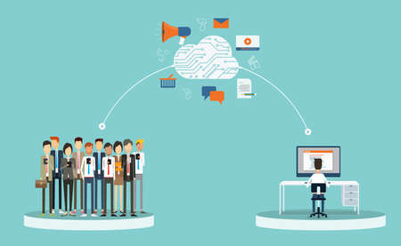 business marketing content on-line and business connection on-line.business on cloud network concept.group people business Vectores