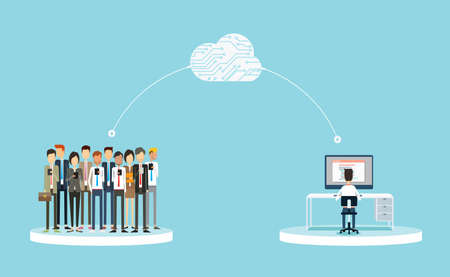 business connection to customers on cloud concept.business public relations on line.business on cloud network concept.group people business